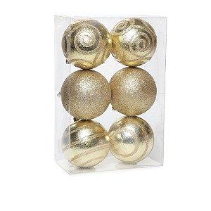 Bolas de Natal Arabesco Ouro 8cm 6Pçs Cromus