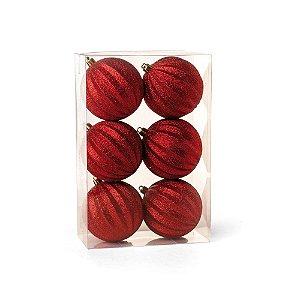 Bolas de Natal com Gomos e Glitter Vermelha 8cm 6Pçs Cromus