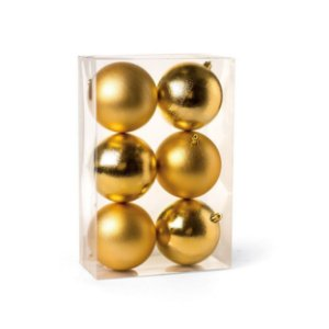 Bolas de Natal Fosca e Brilhante Ouro 8cm 6Pçs Cromus