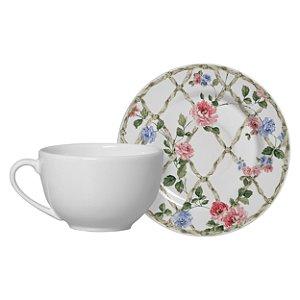 Jogo de Xícara de chá com Pires Romantica 6 Unidades Alleanza