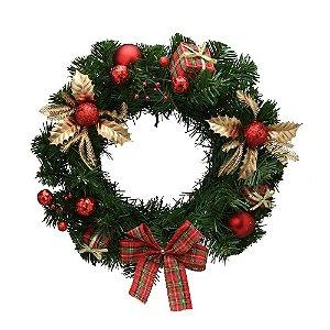 Guirlanda De Natal Vermelha/dourada Laço/bolas/folhas Mabruk