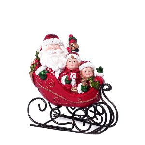 Papai Noel De Trenó Com Elfos Vermelho / Branco Natal Mabruk
