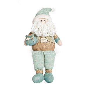 Papai Noel Perna Comprida Sentado M Verde Menta Natal Cromus