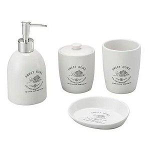 Kit para Banheiro 4 Peças de Cerâmica Sweet Home Branco Lyor