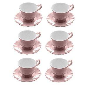 Jogo 6 Xicaras Cafe Porcelana C/ Pires Fancy Rose 90ml Wolff