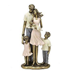 Estatua Decorativa Pais Com Filhos E Filha Em Resina Mabruk
