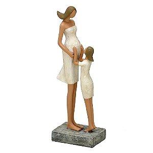 Estatua Decorativa Mãe Gravida Com Filha Resina Mabruk