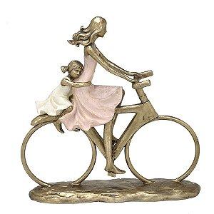 Estatua Decorativa Mãe E Filha De Bicicleta Resina Mabruk