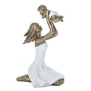 Estatua Decorativa Mãe E Bebê Brincando Resina Mabruk