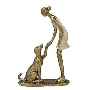 Estatua Decorativa Menina Mulher Com Cachorro Resina Mabruk