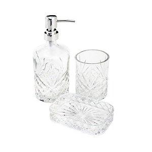 Conjunto para Banheiro 3 peças Vidro Minsk Transparente