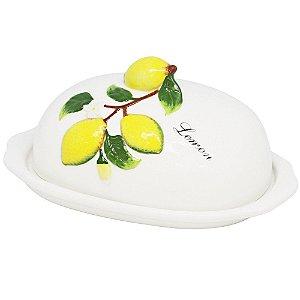 Manteigueira Cerâmica Limão Lemons 20x13x9cm