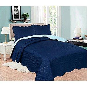 Cobre Leito Colcha Lisa King 2,6x2,8cm Azul Escuro Sultan