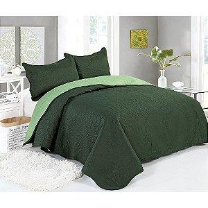 Cobre Leito Colcha Lisa Queen Verde Musgo  2,4x2,6m Sultan