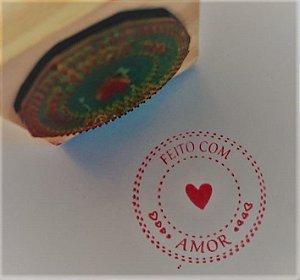 Carimbo Feito com Amor 5x5 cm