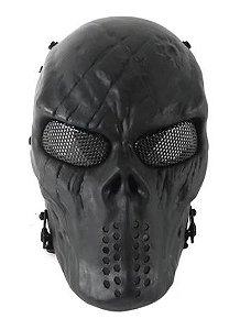 Máscara Proteção Airsoft Tático Full Face Skull Lente Metal Telado NTK