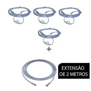 Extensão De Oxigênio - 2 Metros + 4 Cateter Nasal de Silicone Tipo Óculos