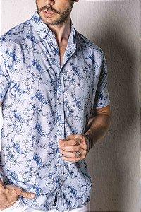 Camisa Manga Curta Slim estampada azul claro