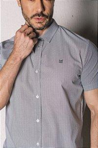 Camisa Manga Curta Slim micro estampa branco