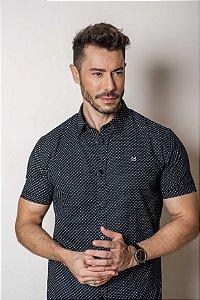 Camisa de Manga Curta Algodão Micro Estampa
