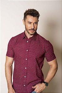 Camisa de Manga Curta Marsala Micro estampa