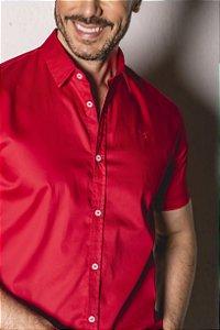 Camisa de Manga Curta Vermelha Acetinada