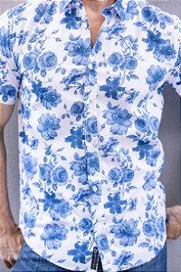 Camisa de Manga Curta Estampada Azul
