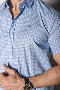 Camisa de Manga Curta Micro Estampa Azul