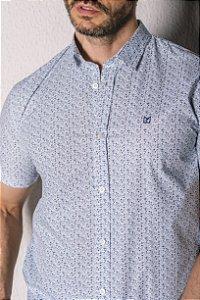 Camisa de Manga Curta Branca Micro Estampa