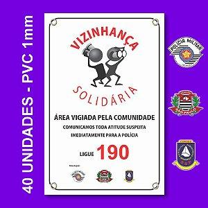 Placa VIZINHAÇA SOLIDARIA 40 Unidades - São Paulo, Conseg E Pm - Pvc 1mm - 20x30cm