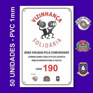 Placa VIZINHAÇA SOLIDARIA 50 Unidades - São Paulo, Conseg E Pm - Pvc 1mm - 20x30cm