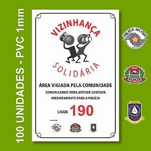 Placa VIZINHAÇA SOLIDARIA 100 Unidades - São Paulo, Conseg E Pm - Pvc 1mm - 20x30cm