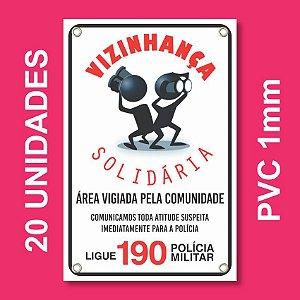 Placa VIZINHAÇA SOLIDARIA 20 Unidades - Pvc 1mm - 20x30cm