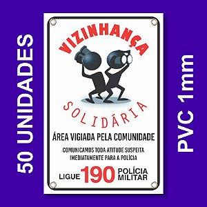 Placa VIZINHAÇA SOLIDARIA 50 Unidades - Pvc 1mm - 20x30cm