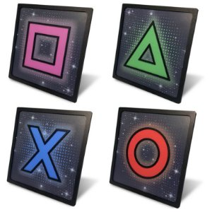 Kit 4 Quadros Mdf Relevo 20x20cm Game Playstation Ps4 Ps5