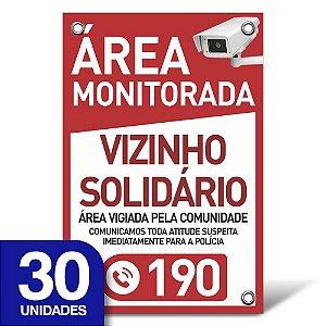 Placa Vizinho Solidário - Pvc 1mm - 30 Unidades - 20x30cm
