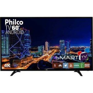 "SMART TV LED 60"" PHILCO PH60D16DSGWN ULTRA HD 4K COM CONVERSOR DIGITAL 3 HDMI 2 USB WI-FI 60HZ PRETA"