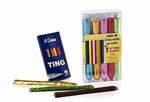 LÁPIS DE CHOCOLATE COM BRINDE (lápis de cor e livrinho)