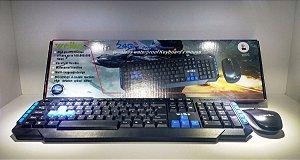 Kit Teclado Gamer + Mouse Sem Fio 2.4ghz 3200dpi Weibo