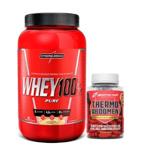 KIT 100% WHEY 907 GR + THERMO ABDOMEN 60 CÁPSULAS