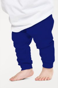 Calça Mijão Bebe em Ribana Algodão com Elastano Azul mjb2