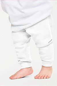 Calça Mijão Bebe em Ribana Algodão com Elastano Branco mjb2