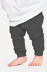 Calça Mijão Bebe em Ribana Algodão com Elastano Cinza Escuro mjb2