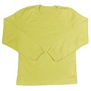 Camiseta Infantil Manga Longa Com Punho Algodão Amarelo Cml6