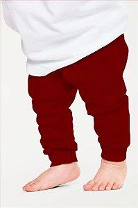 Calça Mijão Bebe em Ribana Algodão com Elastano Vermelho Escuro mjb2