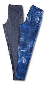 Kit 2 Calca Legging Supplex Lisa Plus Size 593k  lgi4k