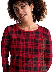 Pijamas Feminino Longo Plus Size Tam Grandes  Vermelho pjp4