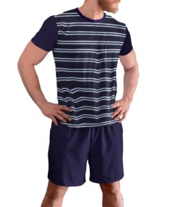 Pijama Manga Curta Masculino Plus Size Listrado 100% Algodão pjp11