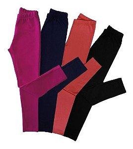 Kit 4 Calcas Legging Infantil Tamanhos 4 A 14 Anos 275k lgi12k