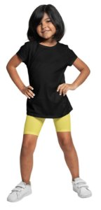 Bermudas Meninas Em Cotton Algodão Amarela bif1